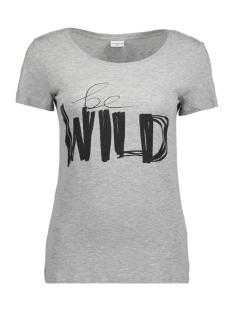 Jacqueline de Yong T-shirt JDYCHICAGOS 7 S/S PRINT TOP 11 JRS 15141657 Light grey melange