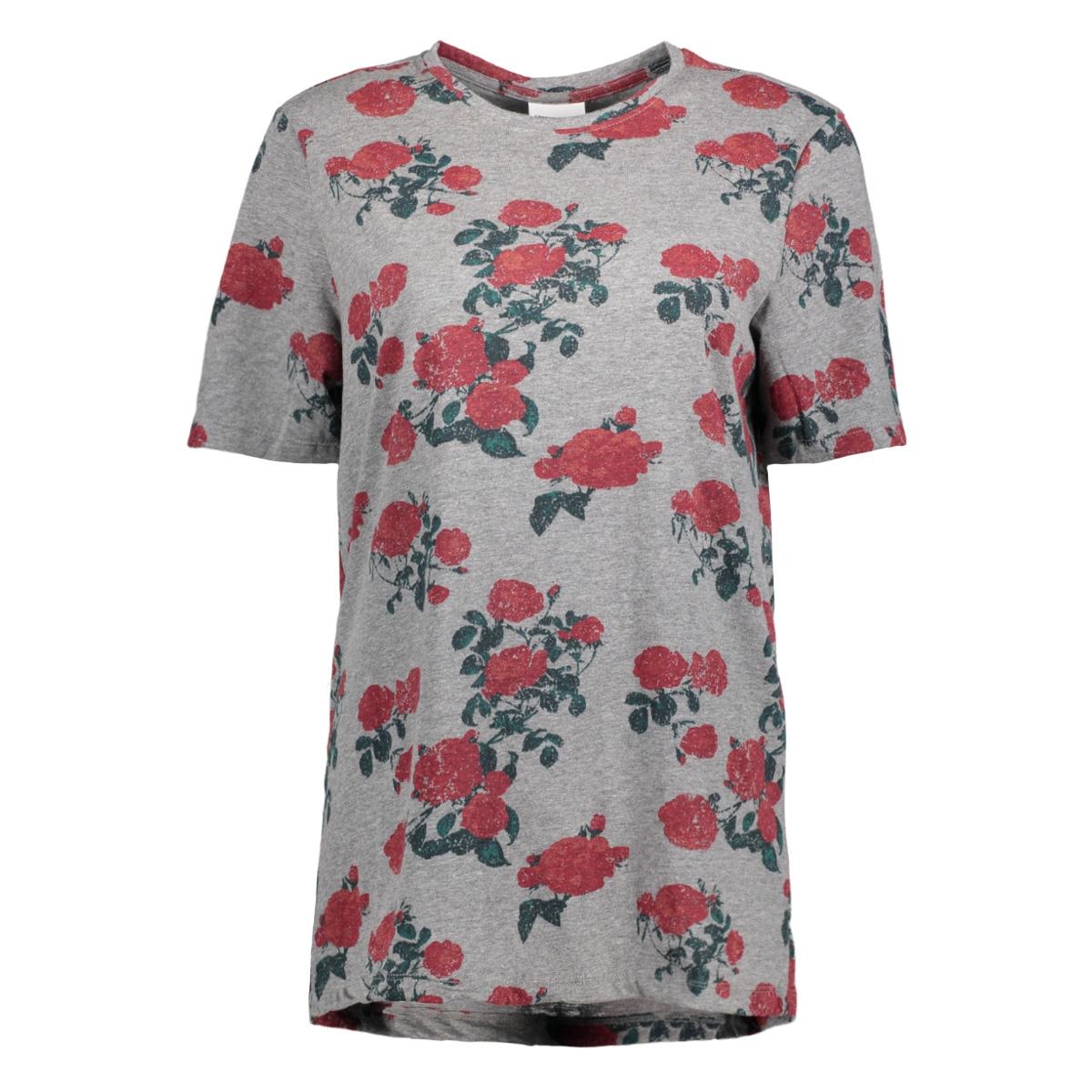 nmnala hazel s/s long top 8  27000540 noisy may t-shirt medium grey melange
