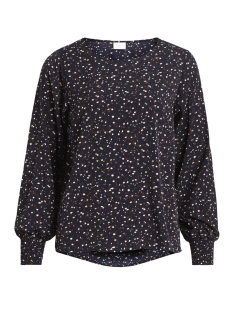 Vila T-shirt VIBAHARI L/S TOP 14044717 Dark Navy/FLOWER PRI
