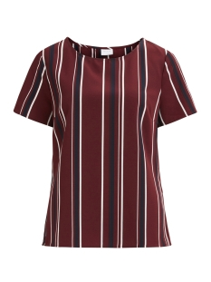 Vila T-shirt VISESILLA S/S O-NECK TOP /RX 14046868 Cabernet/WITH DARK