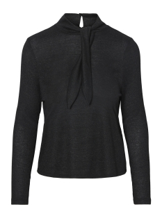 Vero Moda T-shirt VMSHIRLEY L/S BOW TOP D2-8 10188135 Black/ALLE OVER