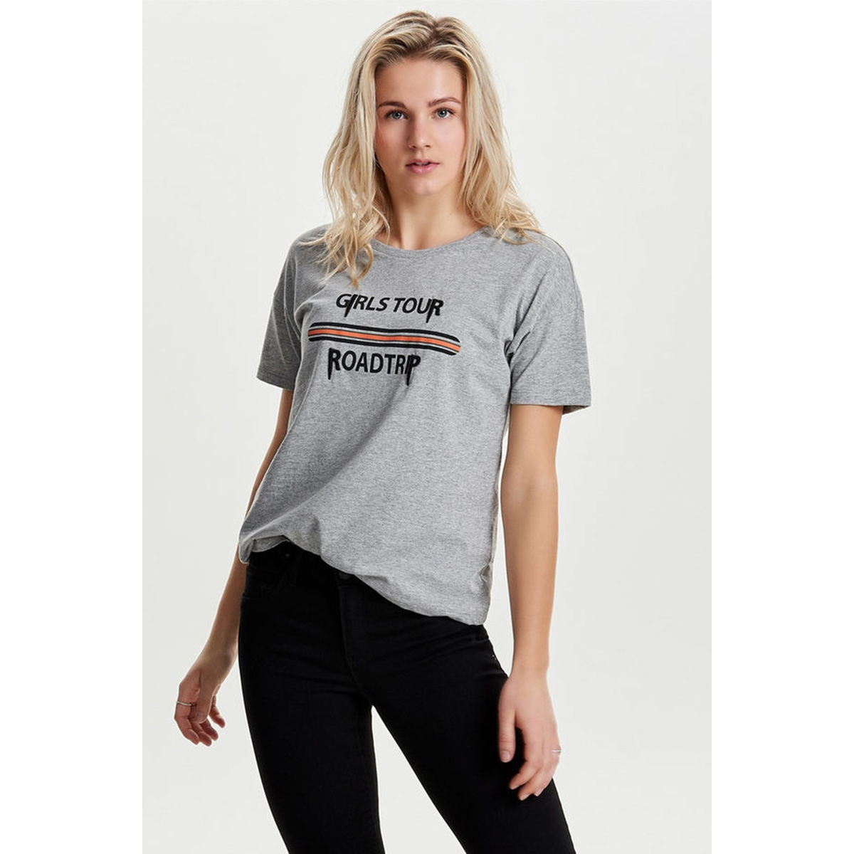 onlgery t-shirts s-s jrs 15150341 only t-shirt light grey melange