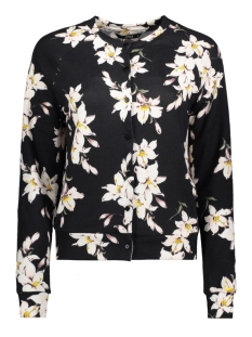 Only Vest onlELCOS MEGAN CARDIGAN L/S TOP JRS 15155758 Black/Flower