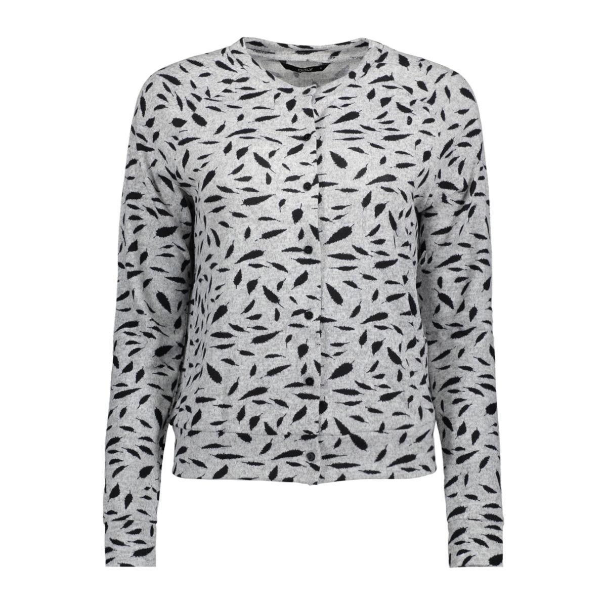 onlelcos megan cardigan l/s top jrs 15155758 only vest light grey mela/black feat