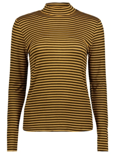 Jacqueline de Yong T-shirt JDYSPIRIT LS HIGHNECK STRIPE TOP JR 15141522 Golden Brown/BLACK