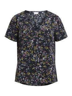 vidasia v-neck top 14045307 vila t-shirt black/flower pri