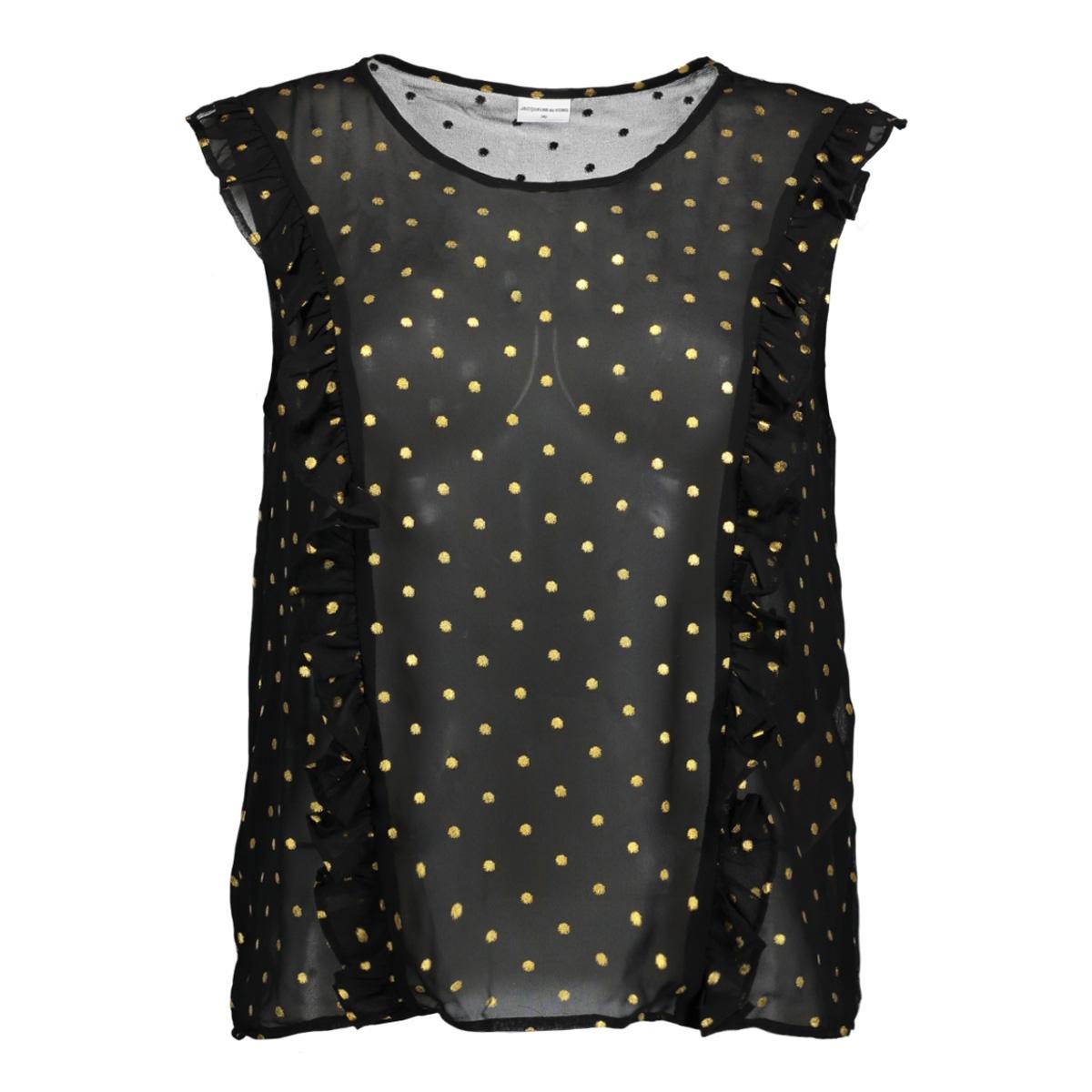 jdymissy s/l frill foil top wvn 15145524 jacqueline de yong top black/gold dot