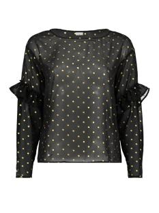 Jacqueline de Yong Blouse JDYMISSY L/S FRILL FOIL TOP WVN 15145525 Black/gold dot