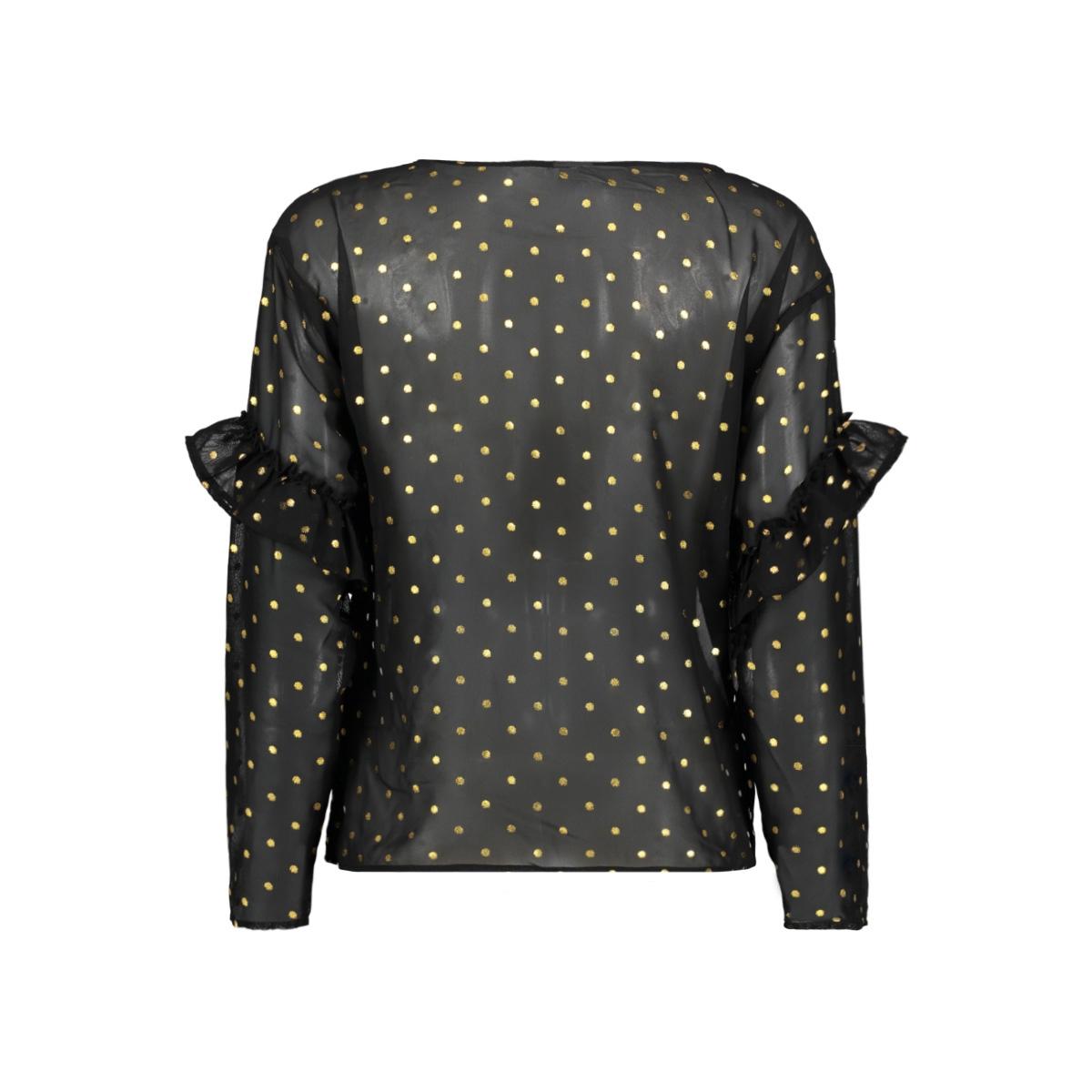 jdymissy l/s frill foil top wvn 15145525 jacqueline de yong blouse black/gold dot