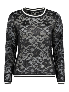 Jacqueline de Yong T-shirt JDYMAYA L/S LACE TOP JRS 15153978 Black