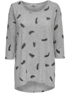 Only T-shirt onlCASA 3/4 AOP TOP JRS NOOS 15157699 Light grey melange