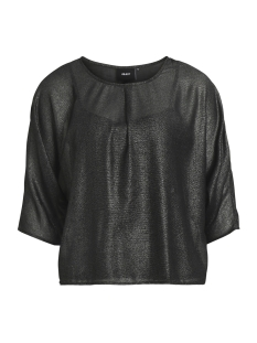 Object T-shirt OBJGLIMMER 3/4 TOP A BF 23026697 Black Silver Foil