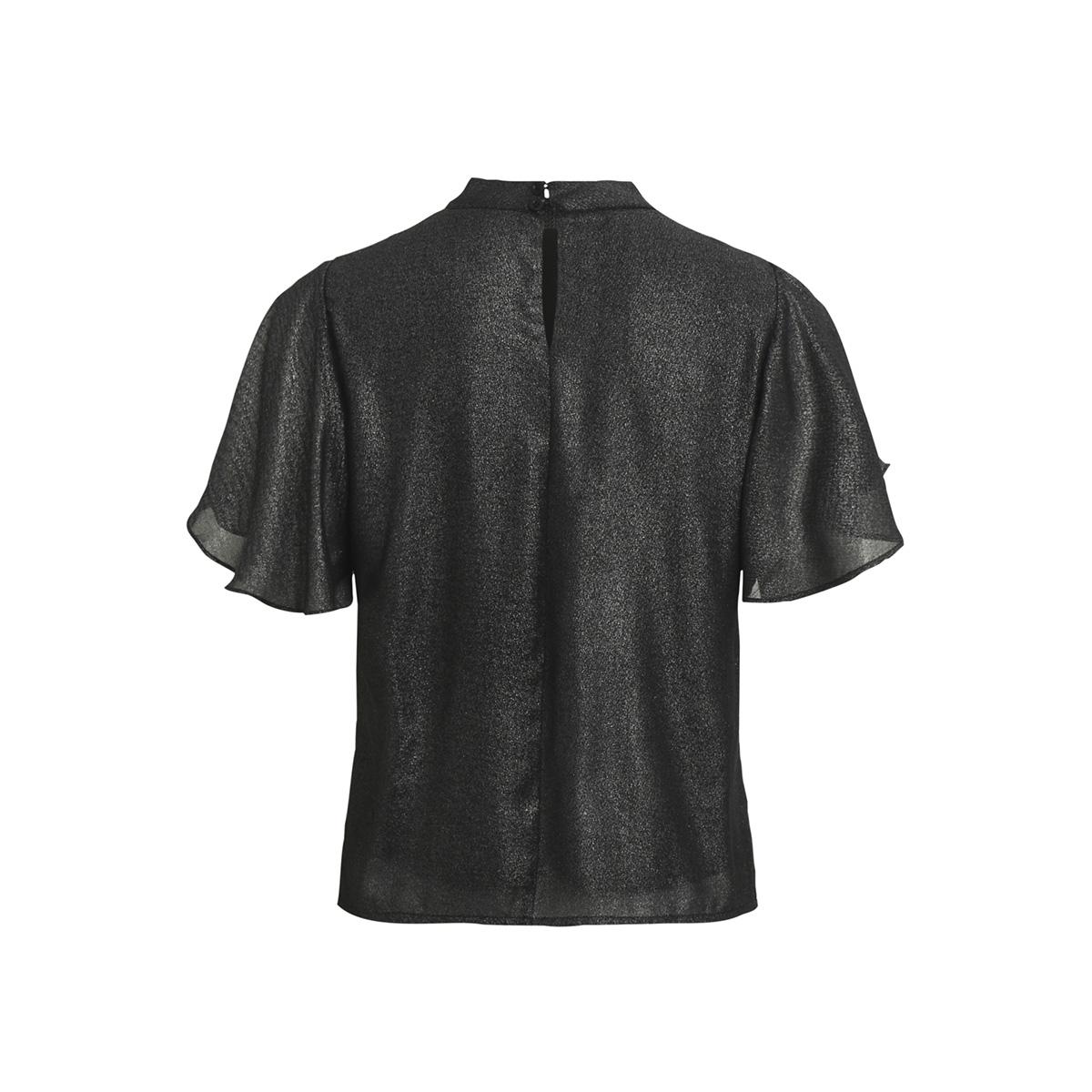 objglimmer s/s choker top a bf 23026689 object t-shirt black silver foil