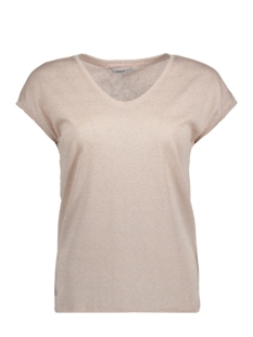Only T-shirt onlSILVERY S/S V NECK LUREX TOP JRS 15136069 Rose Smoke