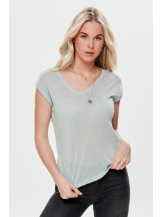 Only T-shirt onlSILVERY S/S V NECK LUREX TOP JRS 15136069 Morning Mist
