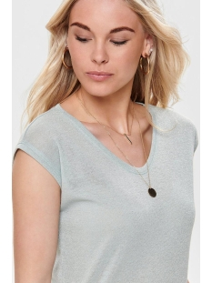 onlsilvery s/s v neck lurex top jrs 15136069 only t-shirt morning mist
