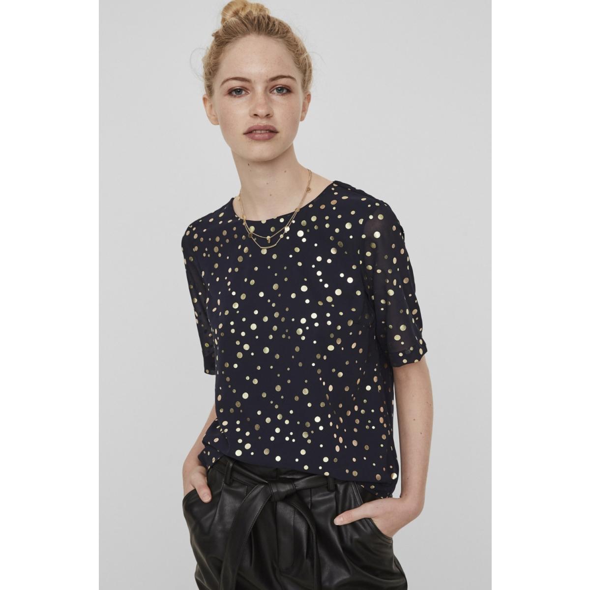 vmdivia dot ss top fd 10198237 vero moda blouse night sky / gold dots