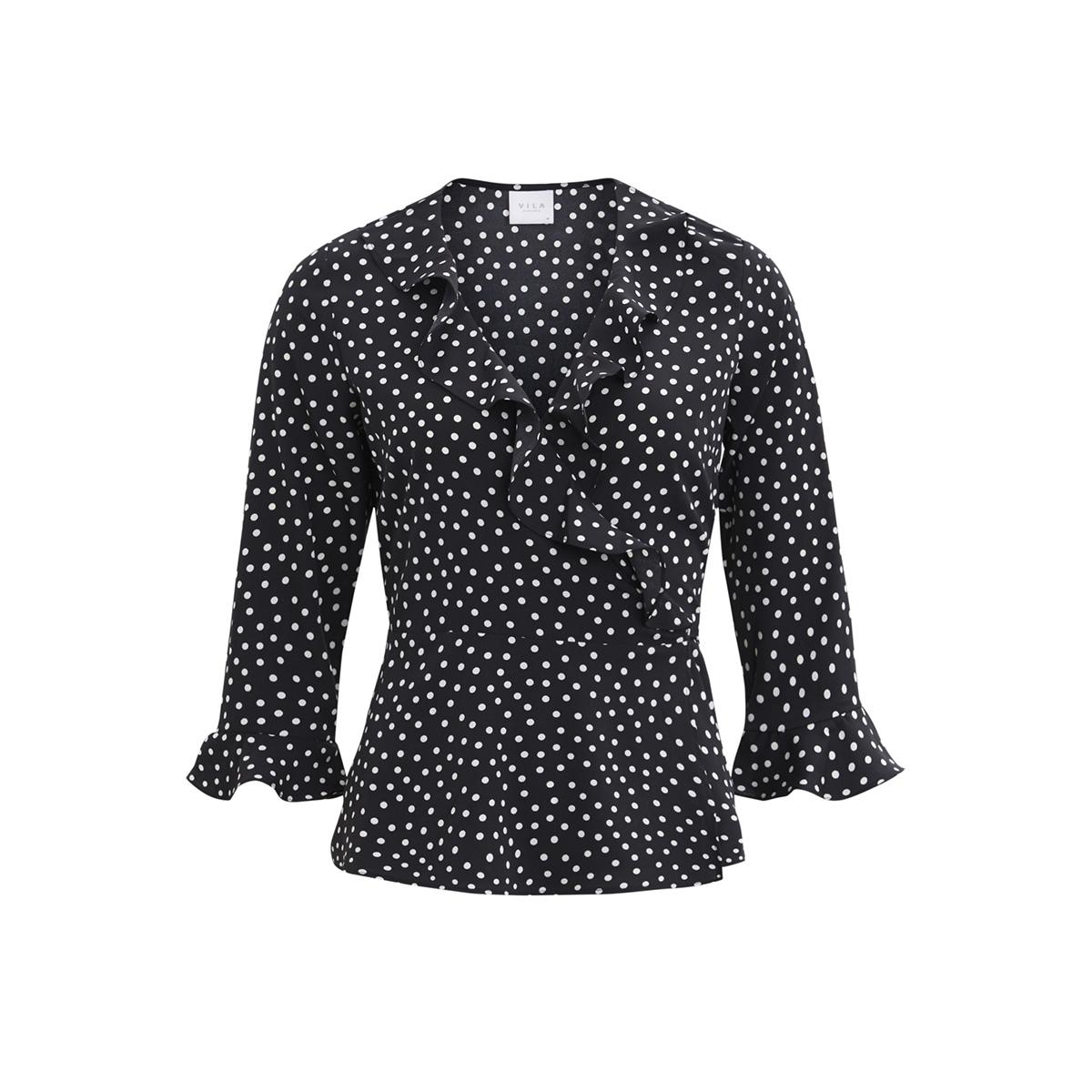 vimicka wrap top/rx 14047368 vila blouse black/white dots