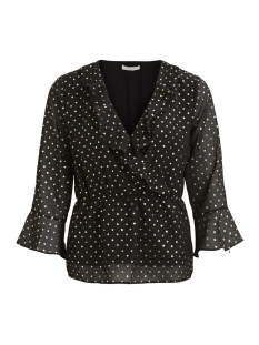 Vila Blouse VIGOLDINA WRAP TOP/RX 14047835 Black/GOLD DOT