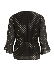 vigoldina wrap top/rx 14047835 vila blouse black/gold dot