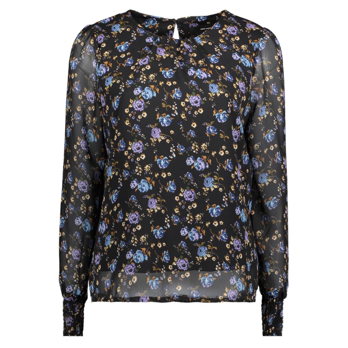 vmrose l/s top 10189837 vero moda blouse black/blauw