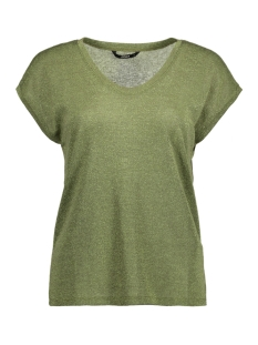Only T-shirt onlSILVERY S/S V NECK LUREX TOP JRS NOOS 15136069 Agave Green
