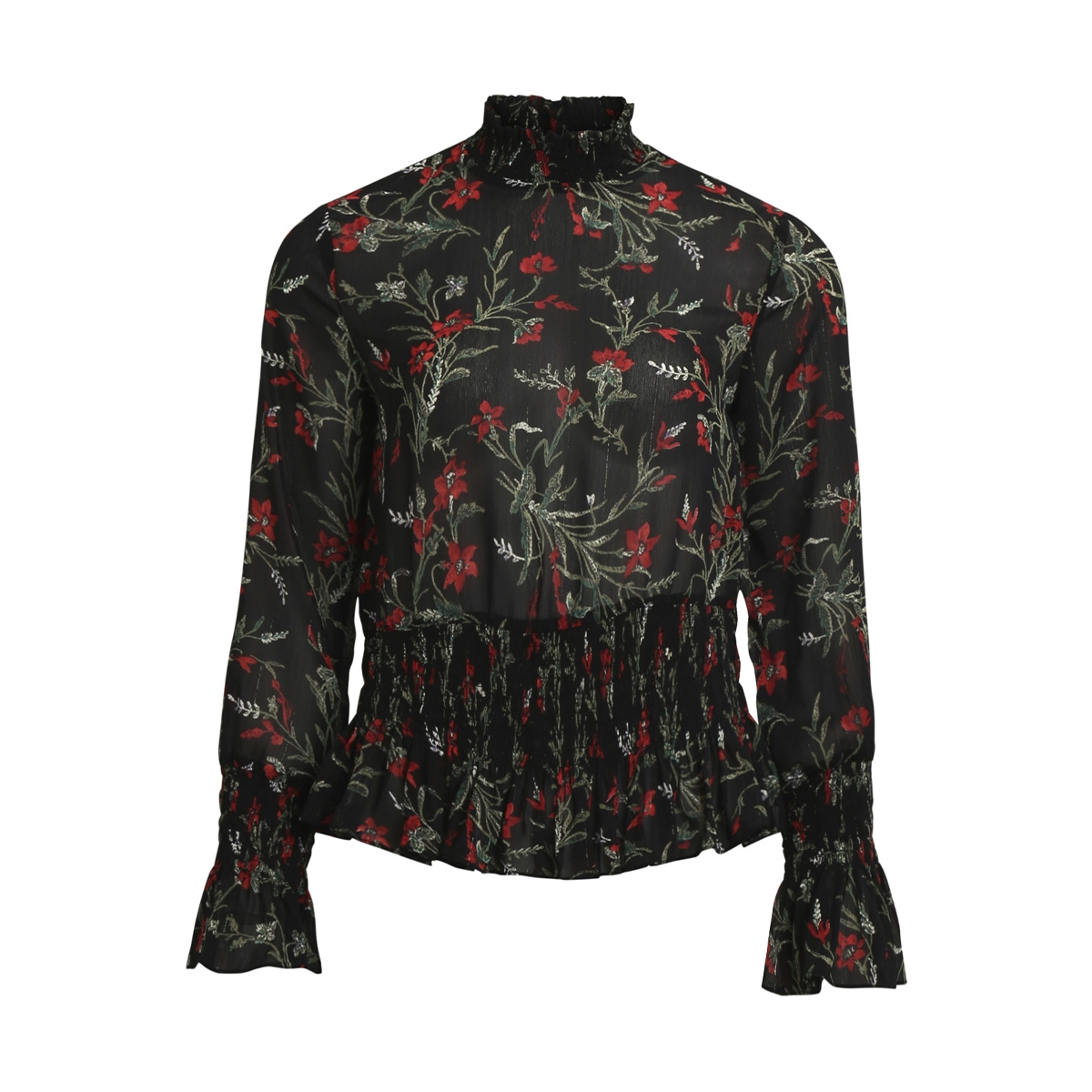 objlani l/s top a wi 23026484 object blouse black/red