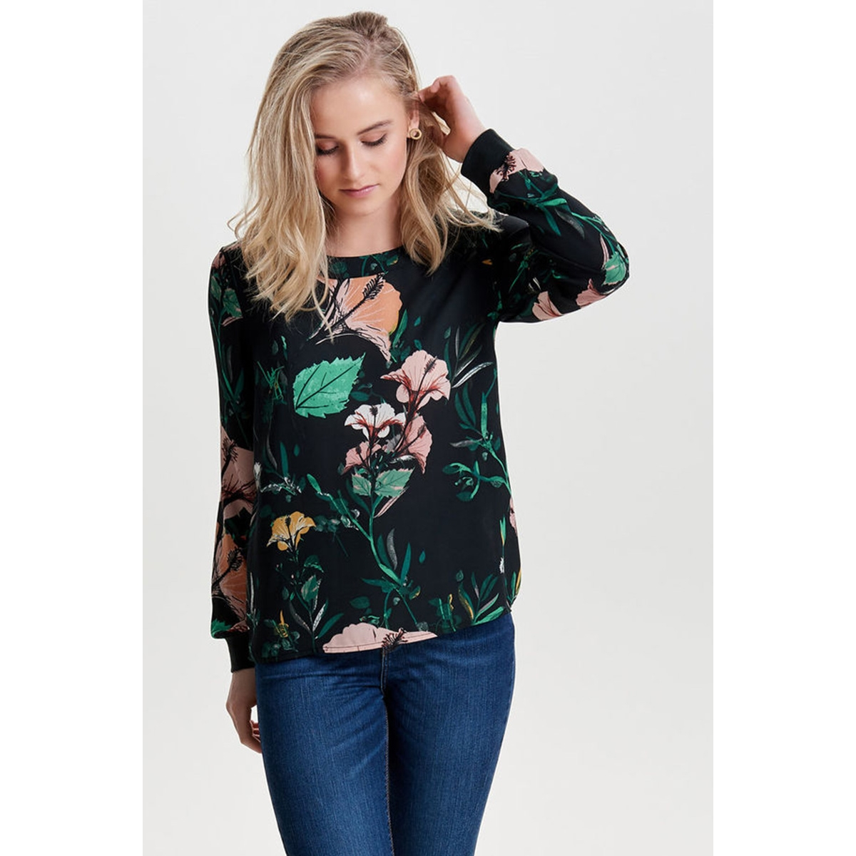 onlpatricia gira l/s top wvn 15153447 only blouse dark green/aop