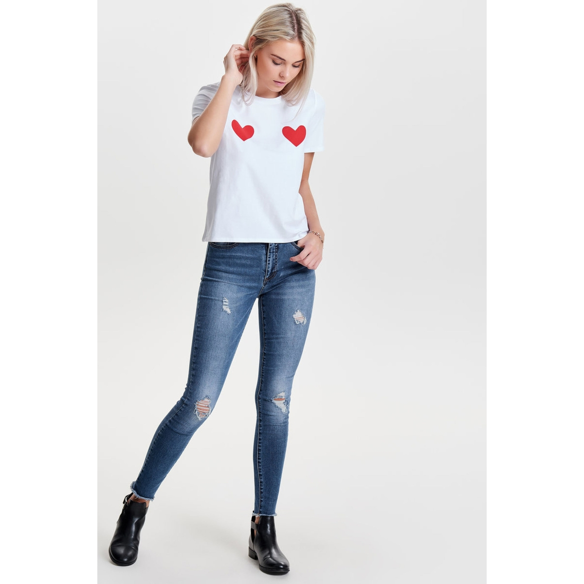 onlnany s/s t-shirt jrs 15157708 only t-shirt white/red hearts