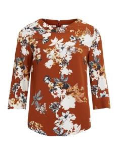 Vila T-shirt VIMEMIRA  3/4 TOP/RX 14047795 Roasted pecan/Flower
