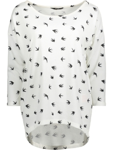 Only T-shirt onlELCOS 4/5 AOP TOP JRS NOOS 15144286 Cloud Dancer/Birds