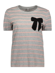 Only T-shirt onlKITA S/S SWEET PRINT TOP BOX ESS 15150157 Light Grey Mela/BOW (CAMEO