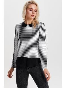 onlcarmella l/s collar top jrs 15146732 only trui cloud dancer stripes/black