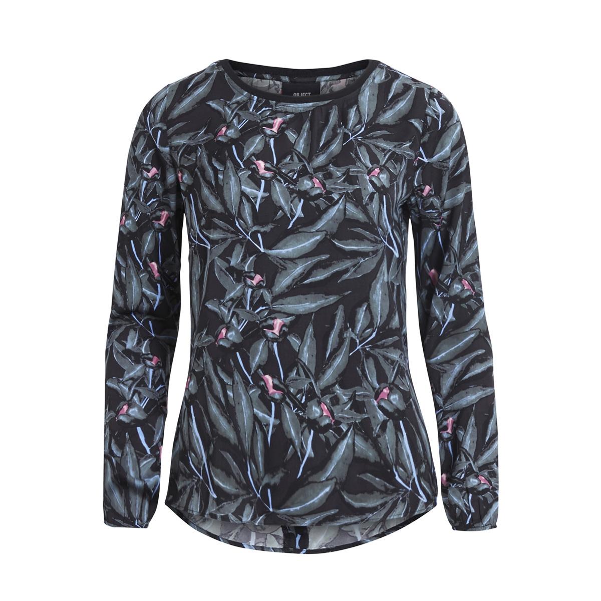 objhaley l/s top pb3 23025815 object blouse black/aop stripe