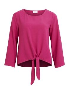 visalina l/s knot top 14045092 vila blouse festival fuchsia