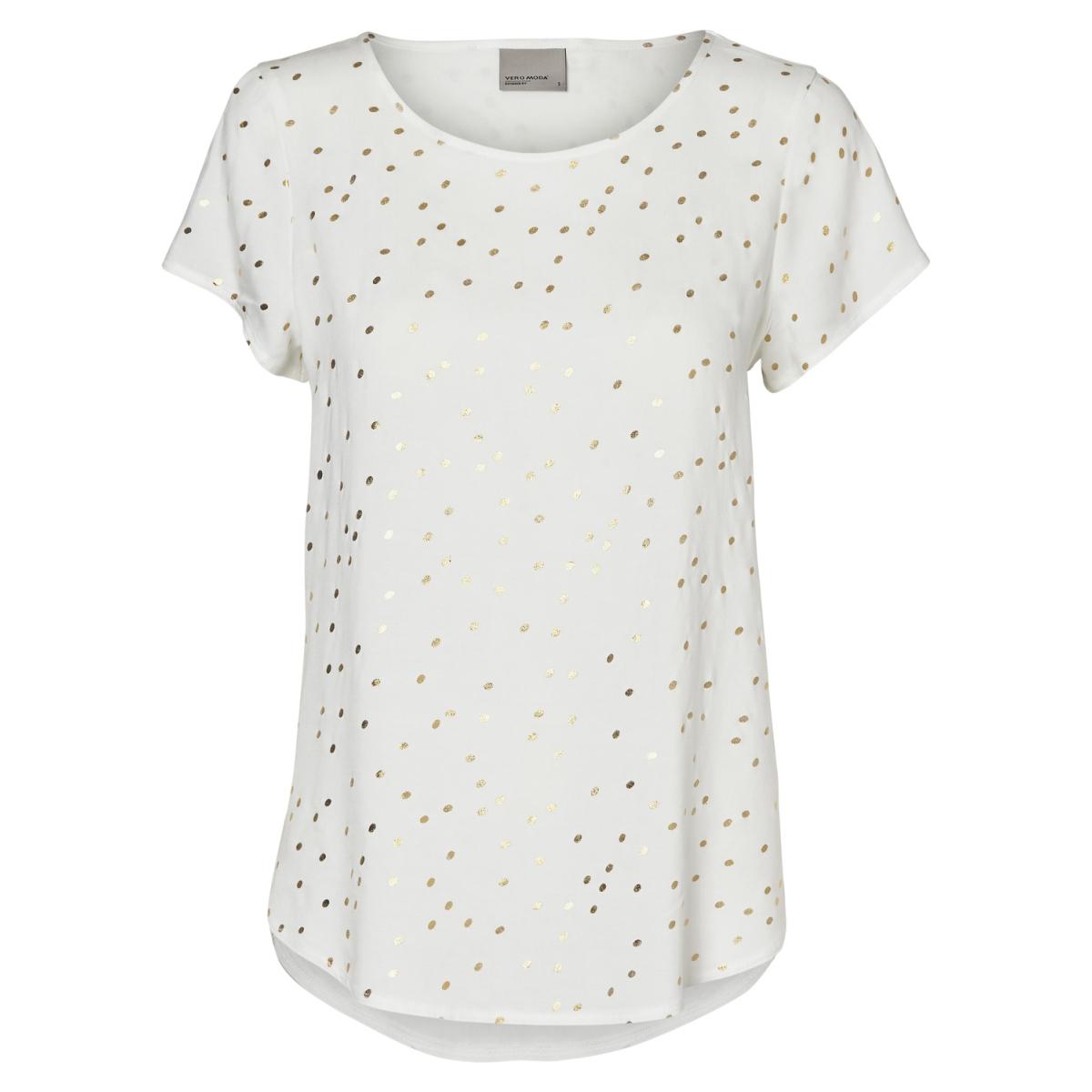 vmfoil snow s/s top nfs 10190008 vero moda t-shirt snow white / foil gold