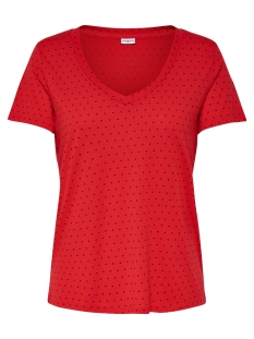 Jacqueline de Yong T-shirt JDYCLOUD S/S AOP V-NECK TOP JRS NOOS 15148943 High Risk Red