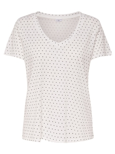 Jacqueline de Yong T-shirt JDYCLOUD S/S AOP V-NECK TOP JRS NOOS 15148943 Cloud Dancer/Black Dots