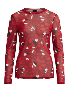 Object T-shirt OBJMARIANNA L/S TOP A NY DIV 23027279 Haute Red/Leo AOP