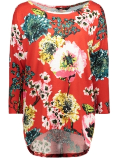 Only T-shirt onlELCOS KATEHRINE 4/5 TOP WVN 15153522 Flame Scarlet/FLOWER