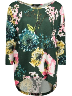 Only T-shirt onlELCOS KATEHRINE 4/5 TOP WVN 15153522 Pineneedle/FLOWER
