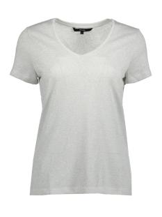 Vero Moda T-shirt VMREZA PURE SS LUREX LINEN TOP 10193194 Snow White/SILVER LUR