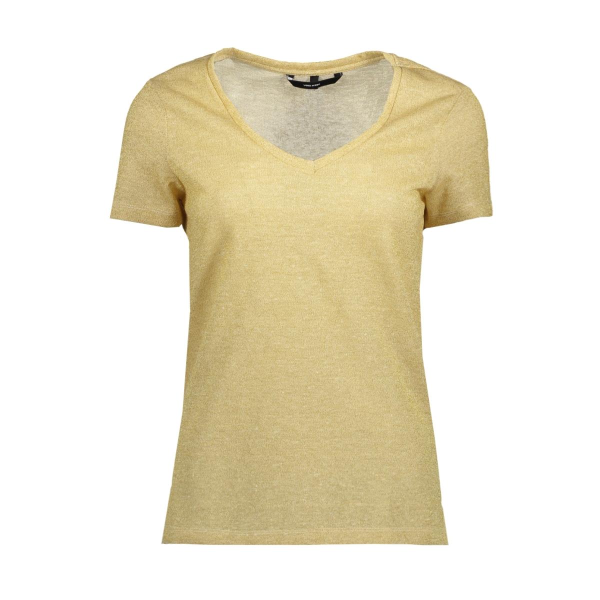 vmreza pure ss lurex linen top 10193194 vero moda t-shirt snow white/gold lurex