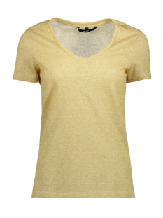 Vero Moda T-shirt VMREZA PURE SS LUREX LINEN TOP 10193194 Snow White/GOLD LUREX