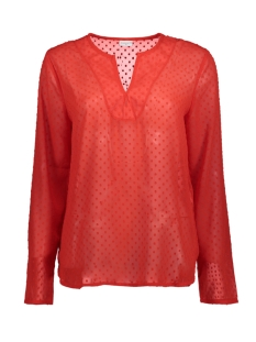 Jacqueline de Yong T-shirt JDYANABETH L/S BLOUSE WVN RD 15146335 High Risk Red