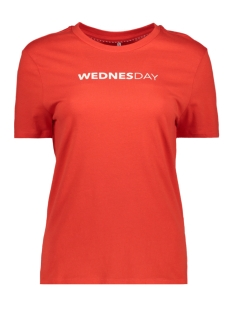 Only T-shirt onlWEEKDAY S/S TOP BOX JRS 15150900 Flame Scarlet/WEDNESDAY1