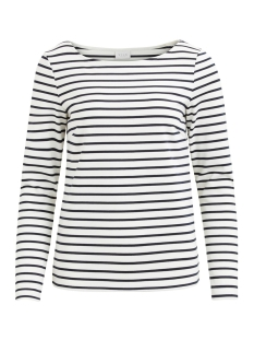 Vila T-shirt VITINNY L/S BOATNECK TOP-NOOS 14044578 Snow White