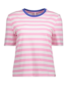 Only T-shirt onlLIVE LOVE TRENDY STRIPE SS ONECK 15139111 Prism Pink/WIDE WHITE