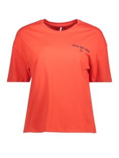 Only T-shirt onlGIRLBOSS S/S KEEN PRINT TOP BOX 15150913 Flame Scarlet/SEAS1