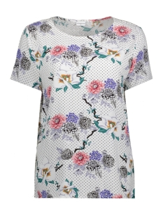 Jacqueline de Yong T-shirt JDYANN S/S TOP WVN 15146313 Cloud Dancer / Ann Flower